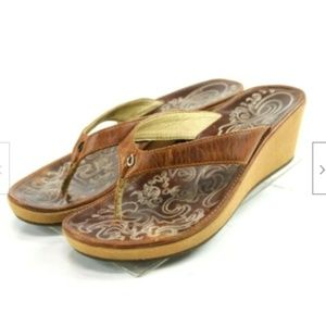 Olukai Kuala Lio Women's Wedge Sandals Size 9